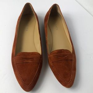 Talbots suede penny loafer point toe flats